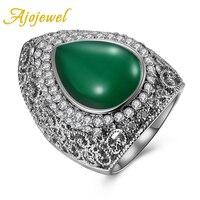 Ajojewel milieuvriendelijke omgeving Grote Groene Steen Antieke Ring Vrouwen Opal Vinger Sieraden Accessoires 2017