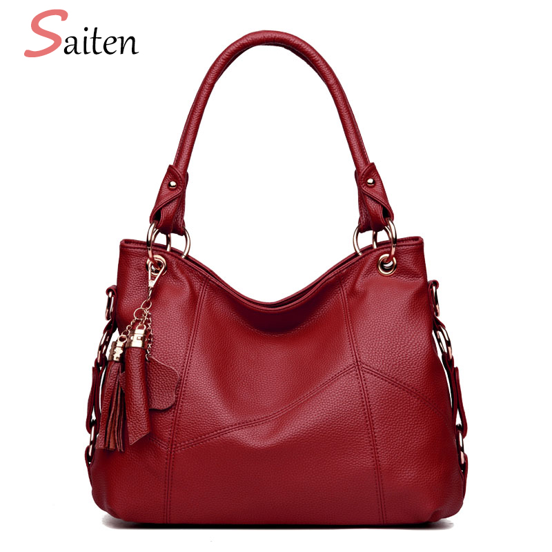 Luxury Designer Women Leather Handbags Vintage Female Shoulder Bags Tassel High Quality Handbag Ladies Large Tote Bag Sac a Main zackrita genuine leather luxury handbags women bags designer new 2017 large solid tote bag ladies bolsa sac a main bolsos b80