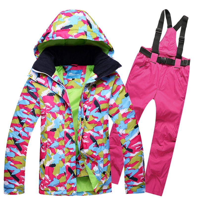 women ski suit skiwear skiing jacket and pants set bright color printed windproof super warm water proof snowboard clothes women s business suit bright stripe jacket