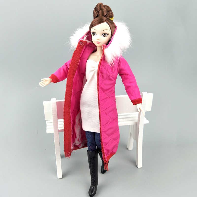 ホットピンク冬のコートのためのバービー人形の衣装服パーカー 1/6 BJD 人形冬服のジャケット 1:6 人形アクセサリー子供のおもちゃ