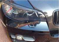 Carbon Fiber Front Head Light Eyelid Decal Cover Trim 2pcs For BMW X6 E71 2008 2014