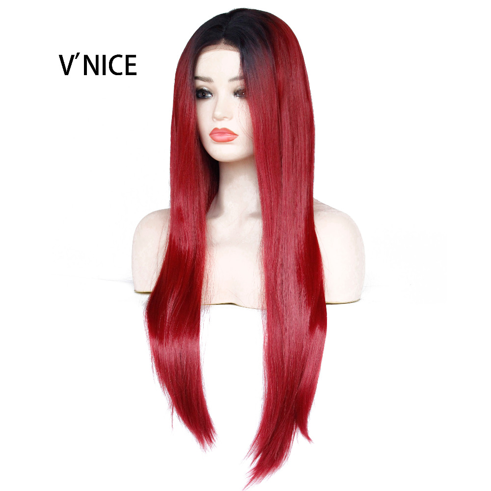 VNICE High Temperature Fiber Wine Red Long Straight Black Ombre Burgundy Synthetic Lace Front Wig for