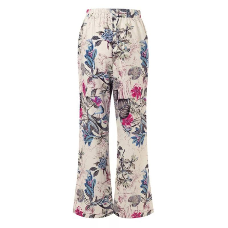 Women Casual Elastic Waist Bohemian Floral Painting Printed   Wide     Leg     Pants   Female Cotton Linen Long Trousers M-5XL