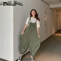 Women one piece jumpsuit 2019 loose causal overalls summer calf length rompers womens jumpsuits solid color pants with pockets