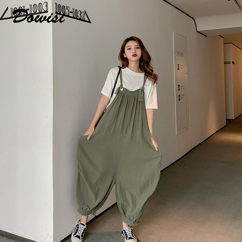 Women one-piece   jumpsuit   2019 loose causal overalls summer calf-length rompers womens   jumpsuits   solid color pants with pockets