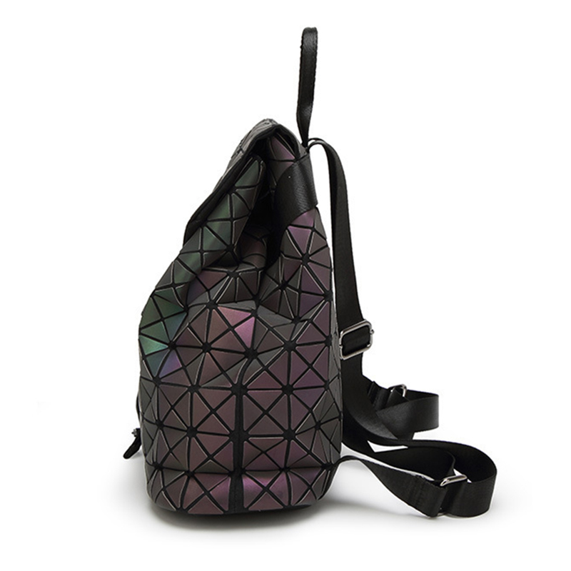 Image 2 - Women Geometric Backpack Luminous Female Evening Bag Diamond Sequins PU Laser Back Pack Lady Casual Plaid Bao Mochila BP0232-in Backpacks from Luggage & Bags
