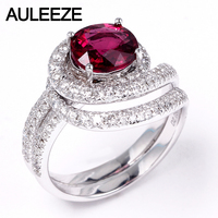 AULEEZE 1 5CT Oval Cut Natural Rubellite Red Tourmaline Ring Real Diamond 18K White Gold Engagement