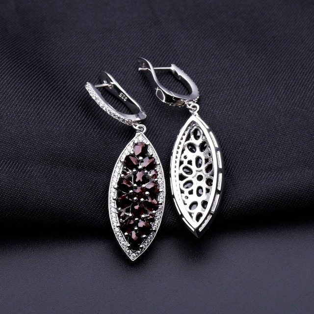 GEM'S BALLET Marquise 6.90Ct Natural Black Garnet Drop Earrings 925 Sterling Silver Fine Jewelry For Women Drop Shipping