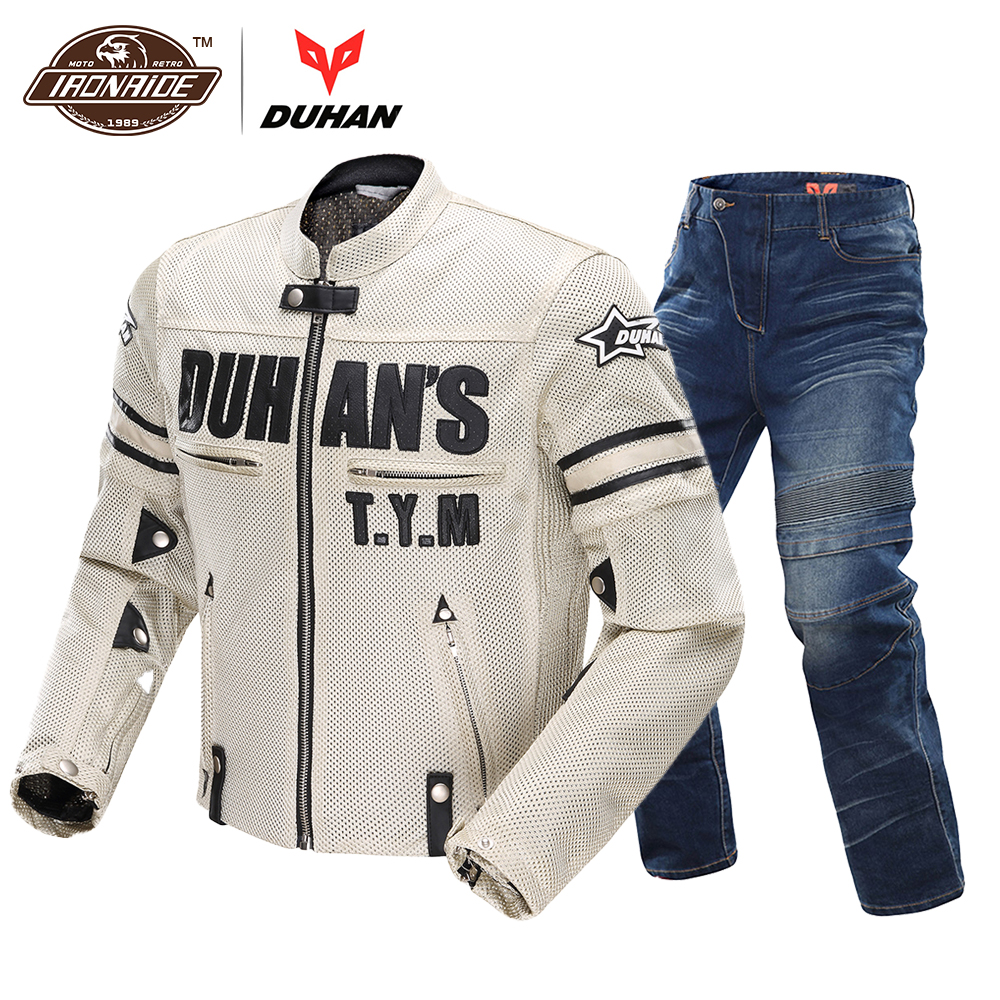DUHAN Motorcycle Jackets Breathable Moto Suit Motorcycle Pants Windproof Racing Jeans Riding Trousers Automobile Race Pants Men tkosm motorcycle pants riding road motor windproof pants jeans men trousers racing windproof motorbike pants with knee pads