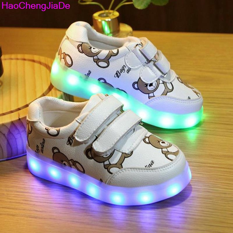 все цены на Glowing Luminous Sneakers For Girls USB Charging Basket Led Toddler Children Shoes With Light Up Kids Casual Boys lighting sole онлайн