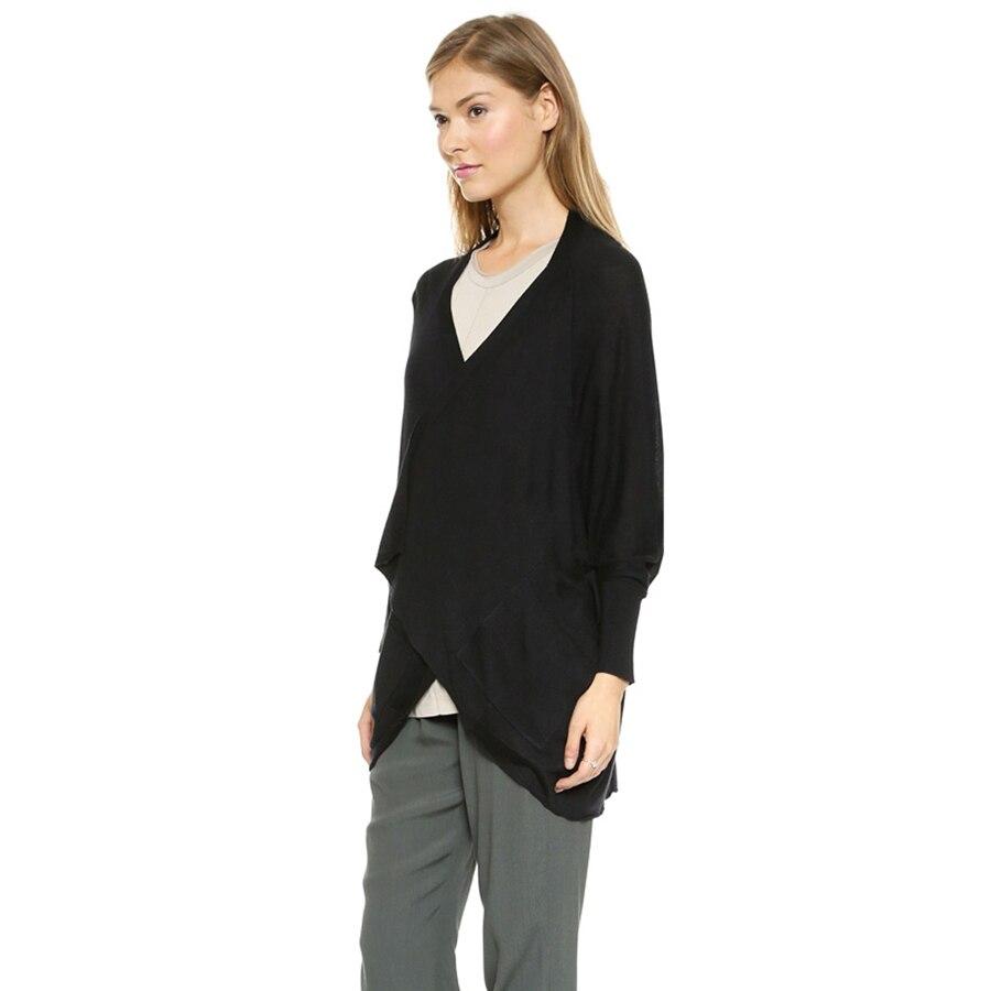 Sweater Cardigan Women Long Autumn Black Knitted Sweater Irregular Cardigan Sueter Mujer Ladies Poncho Coats Knitwear KC6B20
