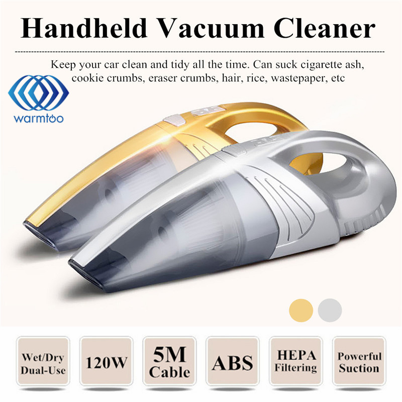 DC12V 120W Super Suction Handheld Vacuum Cleaner Silver Gold Portable Wet And Dry Dual Use For Vehicle Car Home Office dc 12v 120w portable super suction handheld vacuum dirt cleaner wet