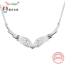 Strollgirl Classic Necklaces & Pendants 925 Sterling Silver Pendant Chain Necklace Angel Wings Pendant Women Silver Jewelry 2018