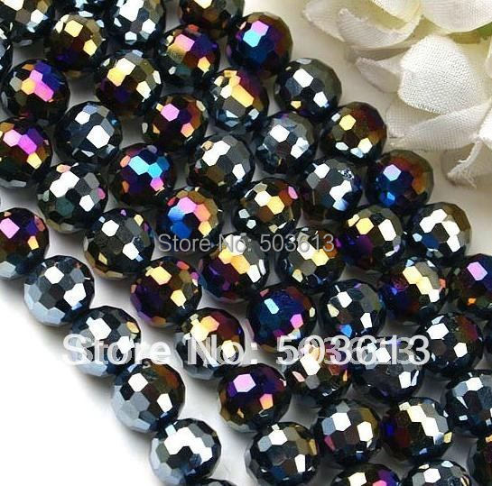 One strand Graceful Black AB Crystal Glass Faceted Round Loose Bead 72 PCS(xcb1090) ...
