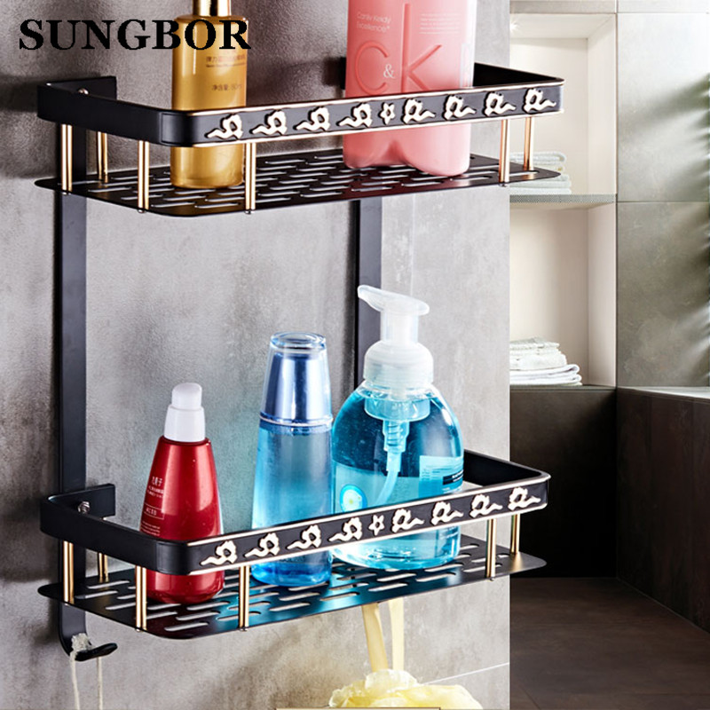 Double Tier Baked black paint Space aluminum Wall Bathroom Shelf ...