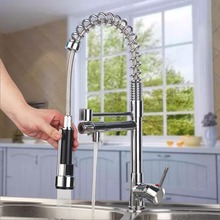 Torayvino 360 Swivel Double Faucets Polished Chrome Brass Kitchen Faucet 1 Handles Vessel Swivel Mixer Tap Pure Water Faucet