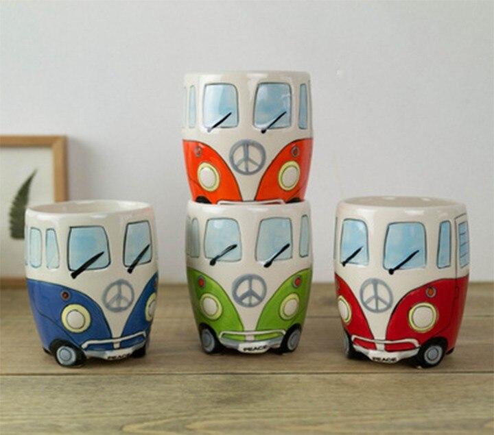 1 pcs de Bande Dessinée Double Decker Bus tasses, Peinture à la main Rétro Double Decker Bus tasse Petit lait café tasse D'eau cadeau