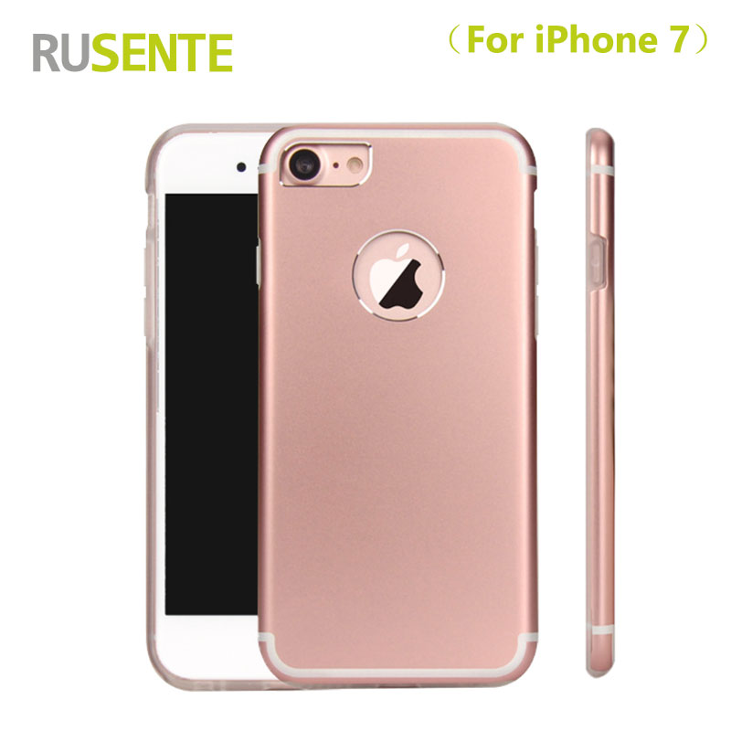 RUSENTE Newly Metal aluminum alloy with TPU lining back cover 2 in 1 phone case for apple iPhone 7 for iphone7 Mobile Cover Case