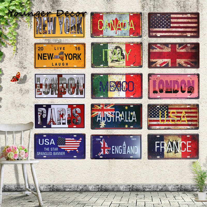 New york usa flag car license plate england london vintage for Canadian home decor stores