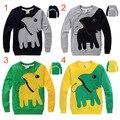 Outono meninos elefante dos desenhos animados crianças camisetas de algodão de manga comprida cobertura de quatro cores crianças meninas pullovers tees