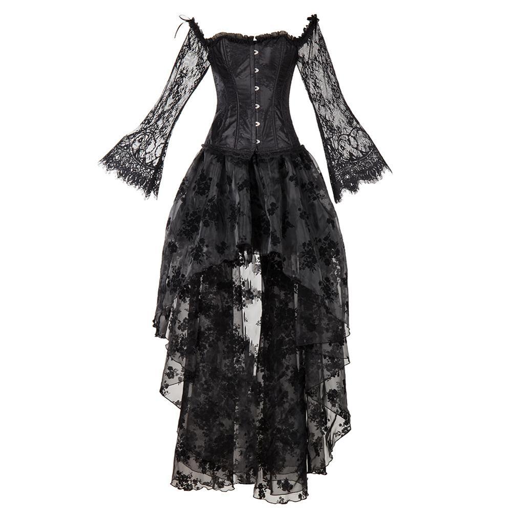 Dentelle manches Steampunk Corset robe minceur Burlesque vêtements acier désossé Palace Style Sexy gothique haut bustier jupe irrégulière