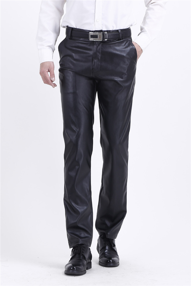 Men`s Business Regular Fit Stretchy Comfy Black Solid Faux Leather Pants  1
