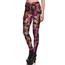 New Arrival 3856 Sexy Girl Colorful Donut Bread Doughnut Printed Elastic Fitness Polyester Workout Women Leggings
