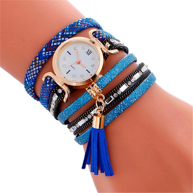 Boho Style Watch Women 2017 New Fashion Pendant Leather Bracelet Watch Lady Woma