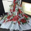 2016 мода марка шелковый шарф Женщин роскошные дизайнерские платки шарфы вырос печати шифон Пашмины мягкий Платок écharpe cachecol cape