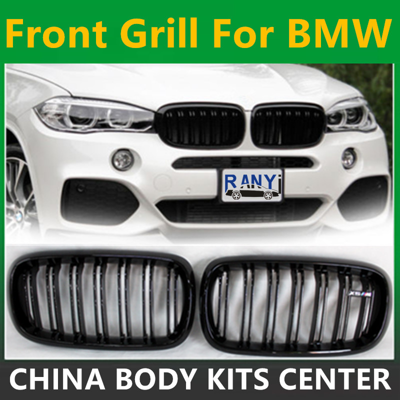 A Pair 14 16 For BMW X5 F15 X6 F16 2014 2015 2016 Front Grille Dual Slats Gloss Black Finish