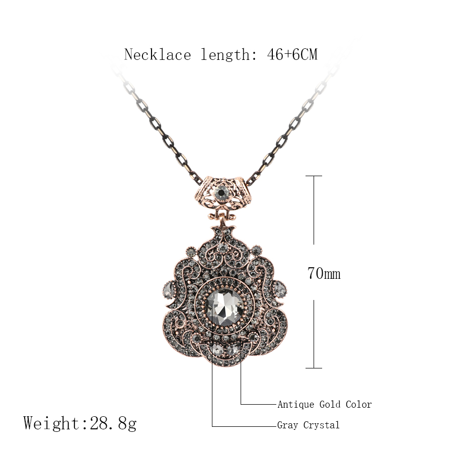HTB1i59Xac vK1RkSmRyq6xwupXa8 - Kinel Bohemia Ethnic Necklace For Women Antique Gold Gray Crystal Statement Pendant Necklace Vintage Jewelry New Style