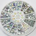 2015 5 Tamanhos Cores Misturadas Acrílico Glitter Pedrinhas Salon Nail Art Stickers Dicas DIY Decorações Studs Com Roda 51HU