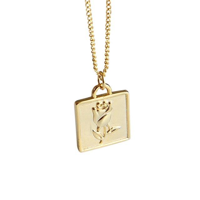 Купить flyleaf золотые квадратные ожерелья и кулоны с розами для женщин картинки