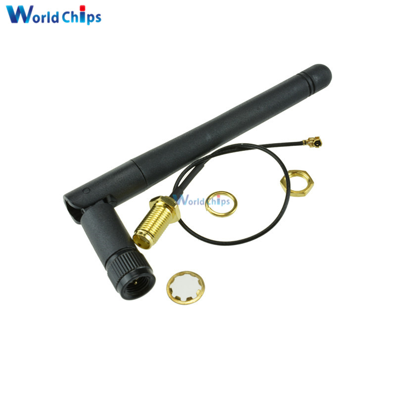 5PCS 2.4G SMA Antenna Extension Cable 3DBI Gain Antenna for ESP8266 Serial Wifi Module ESP-02