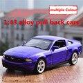 1:43 aleación tire hacia atrás coches, alta simulación ford mustang modelo, 2 puerta abierta, pintura mate de metal a troquel, automóviles de juguete, envío libre