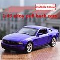 1:43 liga pull back carros, ford mustang modelo de alta simulação, 2 porta aberta, pintura fosca, metal diecasts, toy vehicles, frete grátis