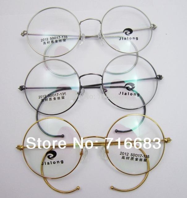 Tamanho 48mm Tamanho 50mm Óculos de Ouro da Antiguidade Do Vintage Rodada Fio de Prata Aro Prescrição Óptica Quadros de Óculos Óculos Óculos Rx