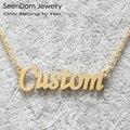 Aço inoxidável 316l presente romântico personalizado nome colar choker banhado a ouro caligrafia assinatura personalizada