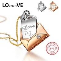 LOZRUNVE 2018 S925 Sterling Silver Zirconia Elegante OL Carta de Amor Romântico Dos Namorados Charme Pingente de Mulheres Por Atacado