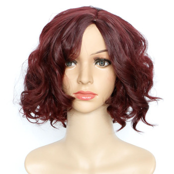 High quality curly hair accessories 147g 28cm synthetic hair jewelry extension hair wear as burgundy wigs