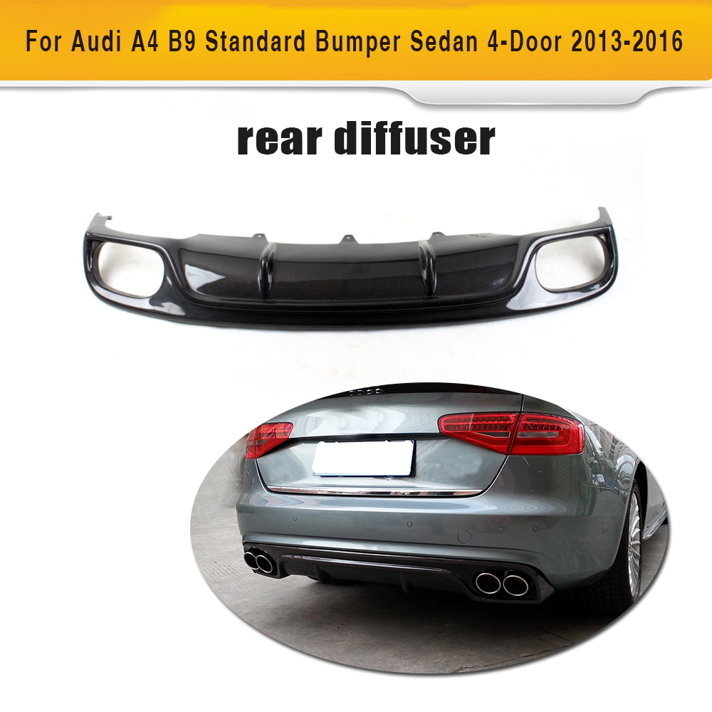 Carbon Fiber Rear Bumper Diffuser Lip Spoiler With Splitters Exhaust for Audi A4 B9 Standard Sedan 13-16 Non Sline Grey FRP цены