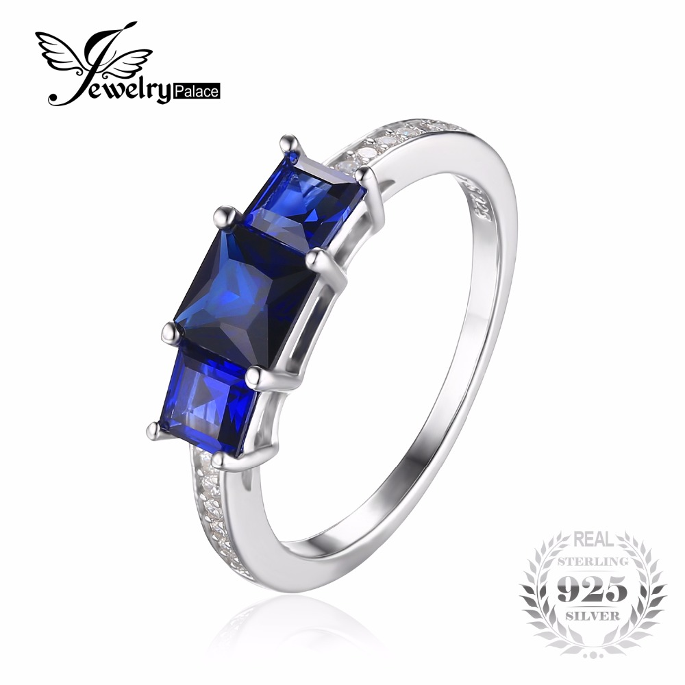 JewelryPalace Classical 1 27ct Created Sapphires Ring For Women Real 925 Sterling Silver Wedding Jewelry Fashion