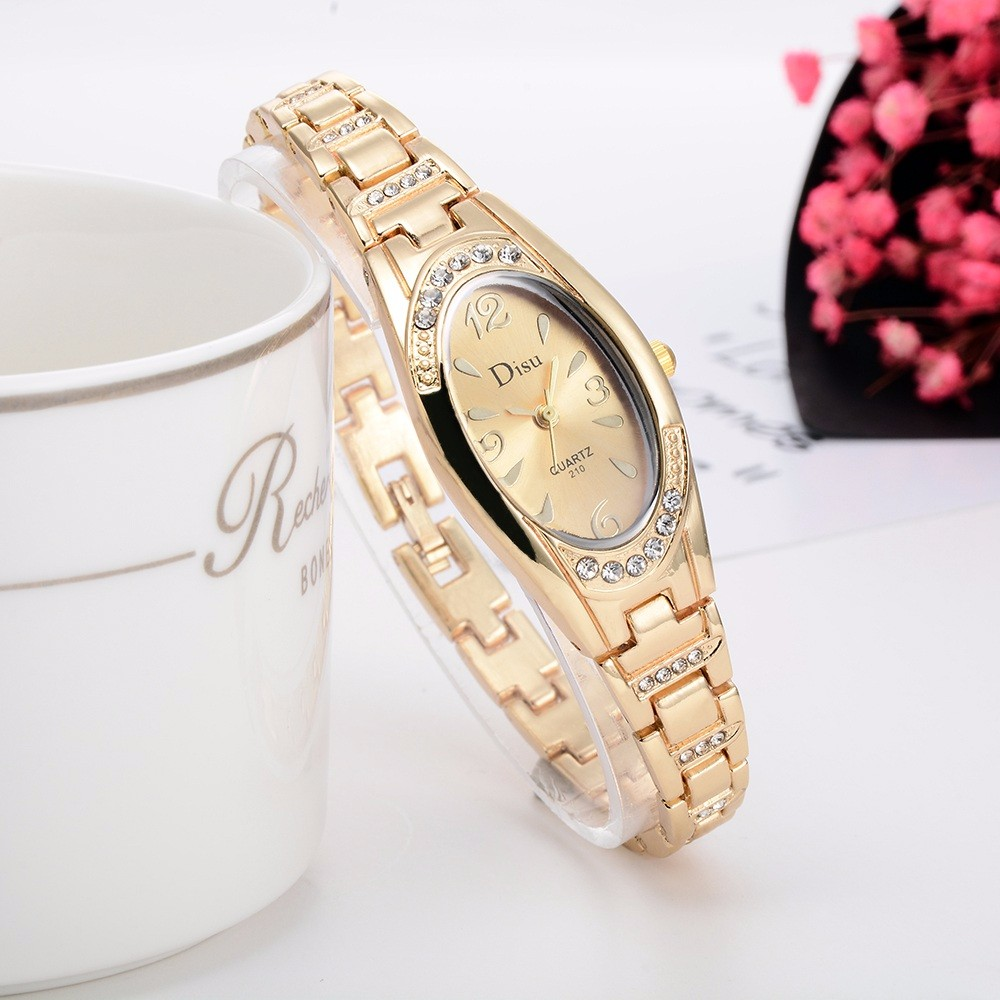 Disu Luxury Brand Rose Gold Plated Women's Elegant Rhinestone Bracelet Quartz Watch Fashion Ladies Dress Watches Reloj HombreB40