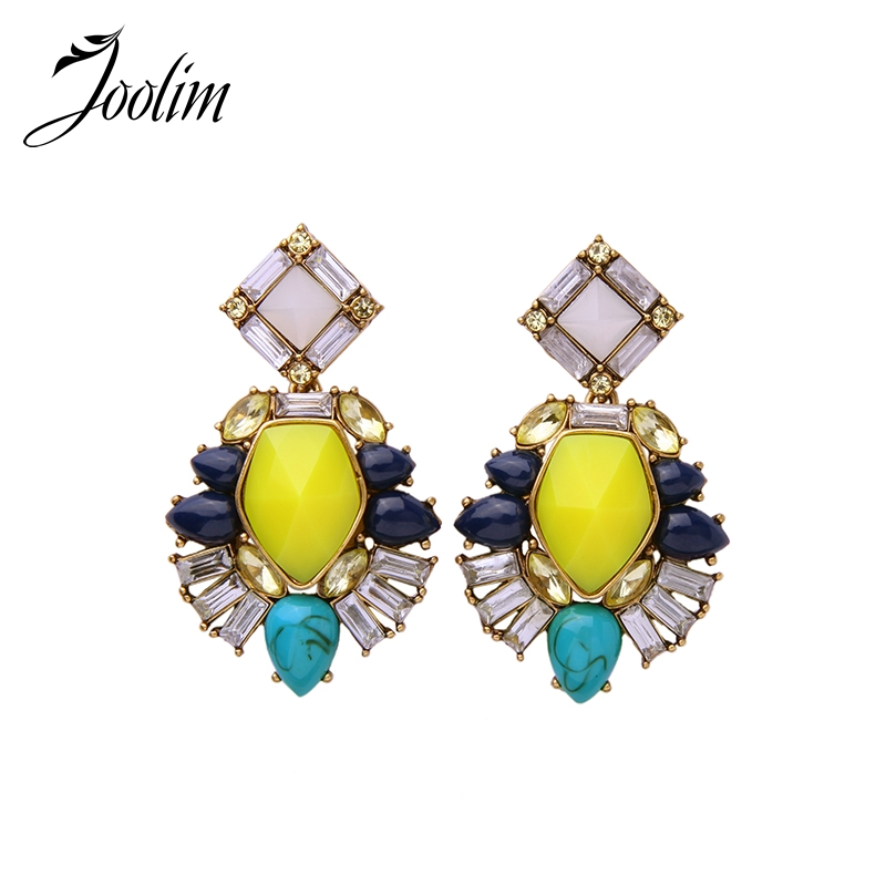 JOOLIM Jewelry Wholesale/ High Quality Statement Yellow Chandelier Earring Fashion Summer Earring Free Shipping