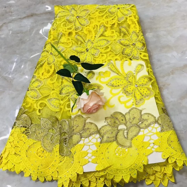 Latest High Quality Wedding french  Laces Nigeria Embroidery Mesh Guipure Laces Fabric with stones    nlyno153