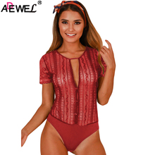 ADEWEL Sexy Women Button Front Lace Up Floral Lace Bodysuit Short Sleeves Ladies Peret Bodysuit Summer Bodysuits in Red Black