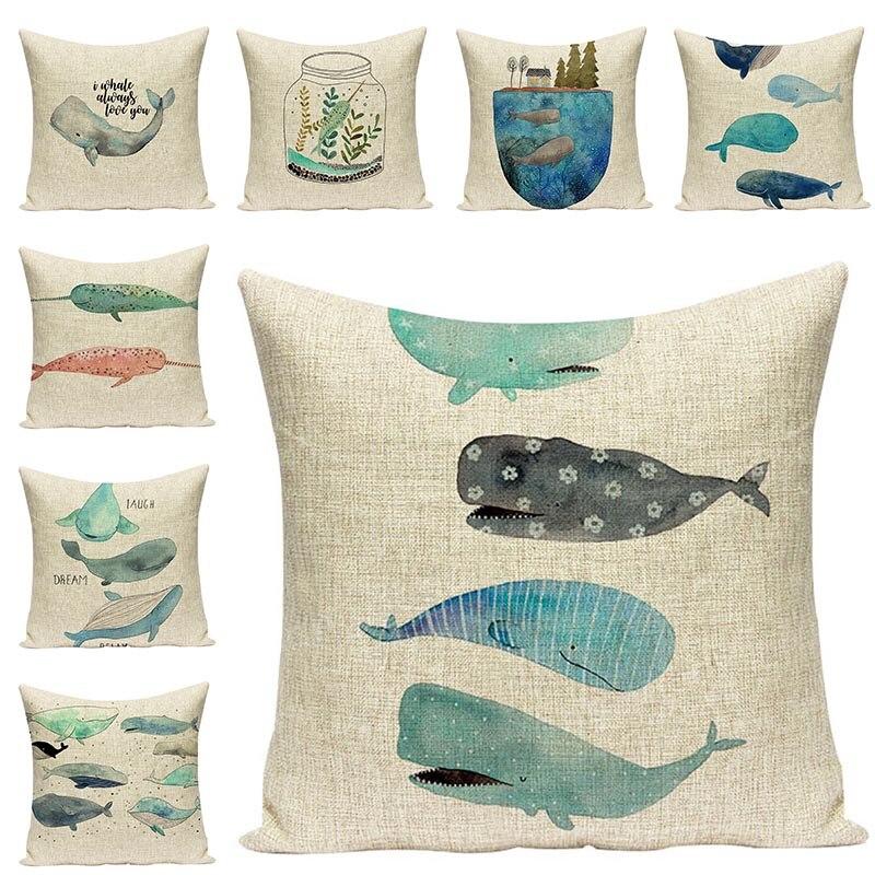 Customized Ocean Whale Printed Chair Cushion Home Decorative Pillowcase Cushions Cover for Sofa Simple Cotton Linen