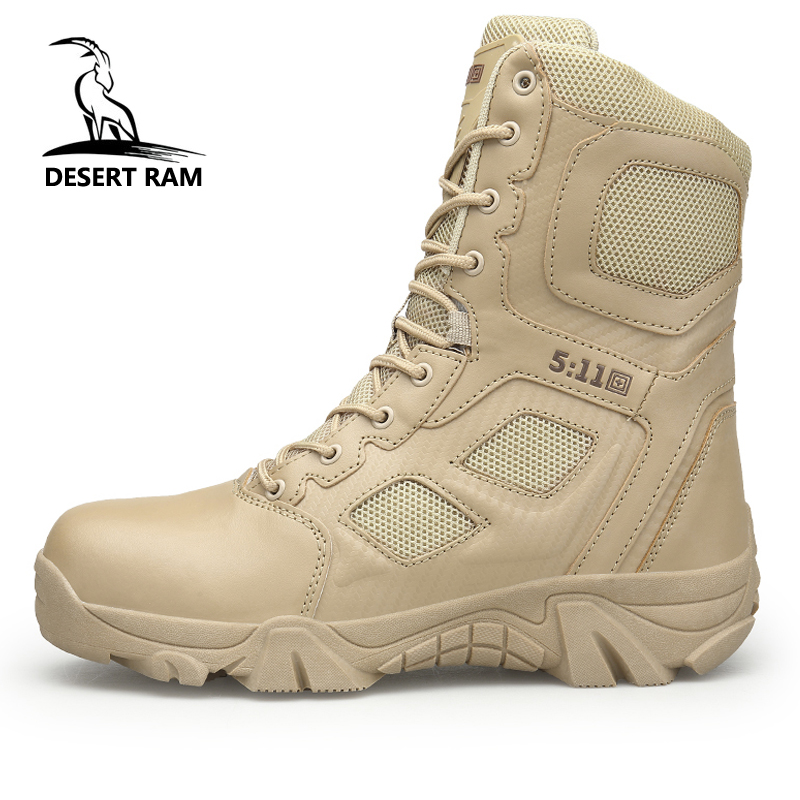 DESERT RAM Brand Men's Boots Big Size Military boot Chukka Ankle Bot Tactical Army Male Shoes Safety Combat Mens Motocycle Boots все цены