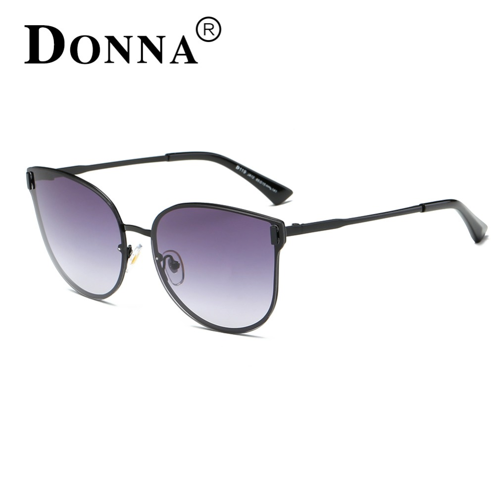 565a5a740bd DONNA Women Cat Eye Sunglasses Oversized Rose Gold Frame Mirror Sun glasses  Fashion Lady Brand Design Cateye Unique Style D119