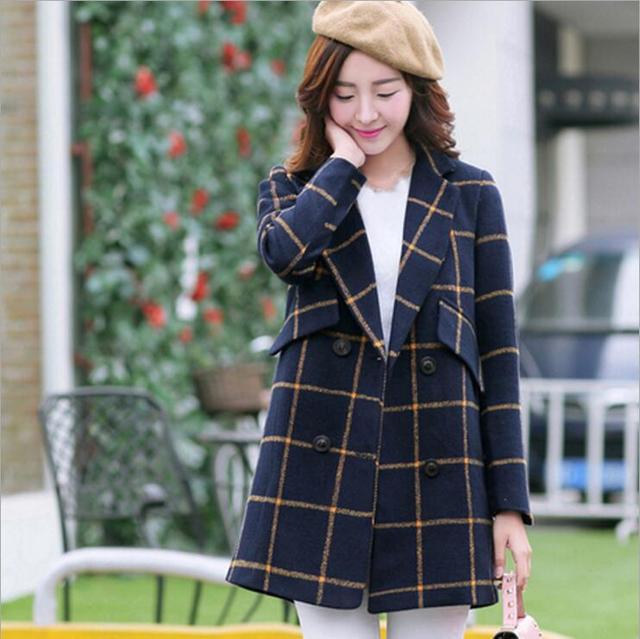 2016 мода молодых женщин шотландка одежда длинные девушки пальто куртки осень-зима пальто женской моды дамы теплые шерстяные пальто